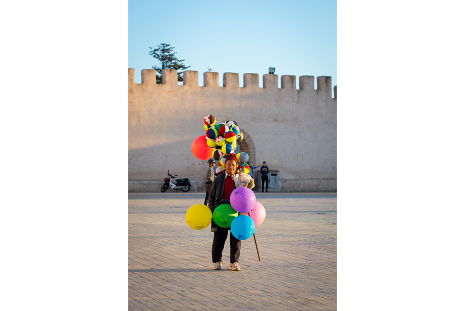 Balloon seller in Essouira, Morocco