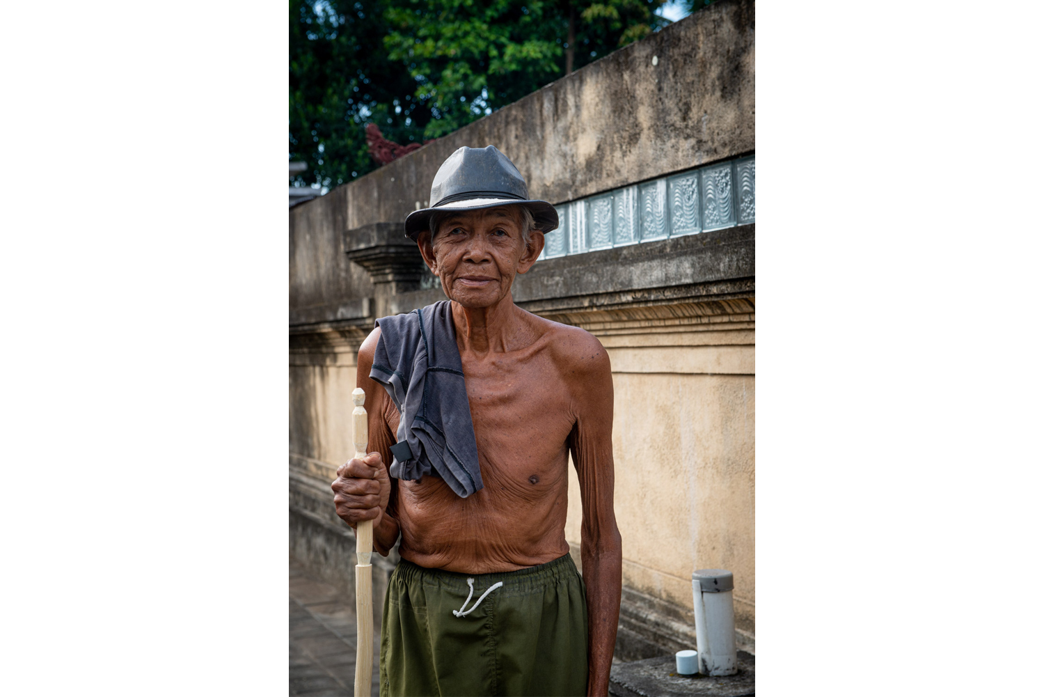 Portrait of an old, wrinkled man in Bali, Indonesia.