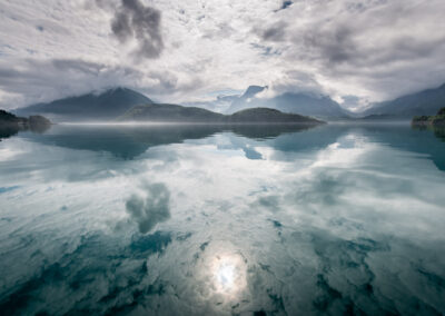 Reflection of mountains in a lake in Norway