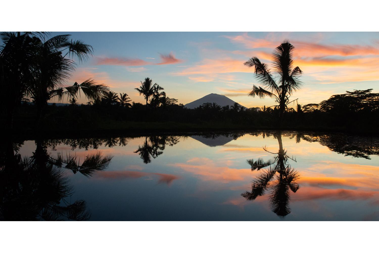 Panorama sunrise in Bali over a rice field
